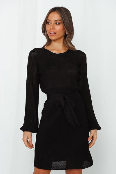 Someone To Lean On Knit Dress Black