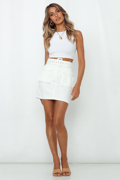 Too Little Too Late Skirt White