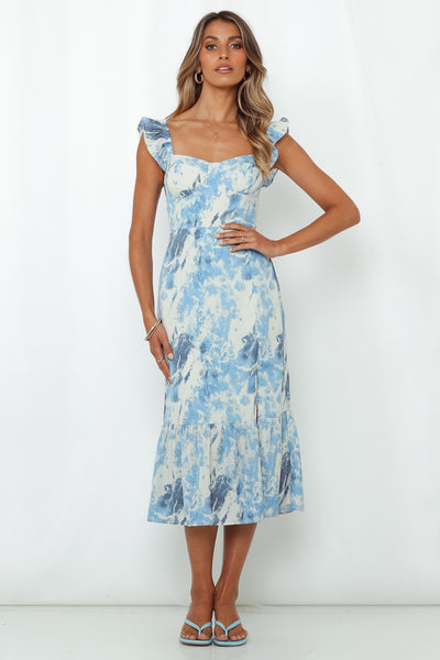 Loveless Muse Midi Dress Blue