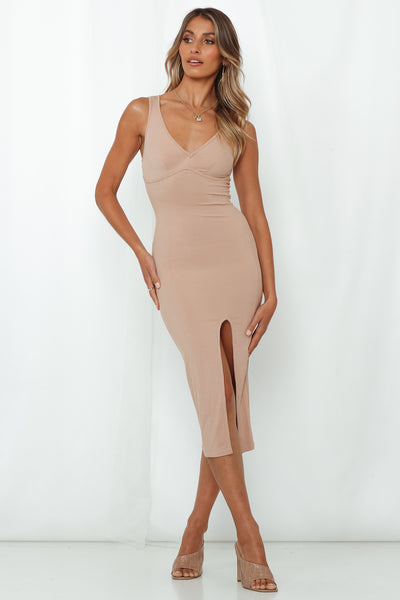 Nightly Ritual Midi Dress Beige