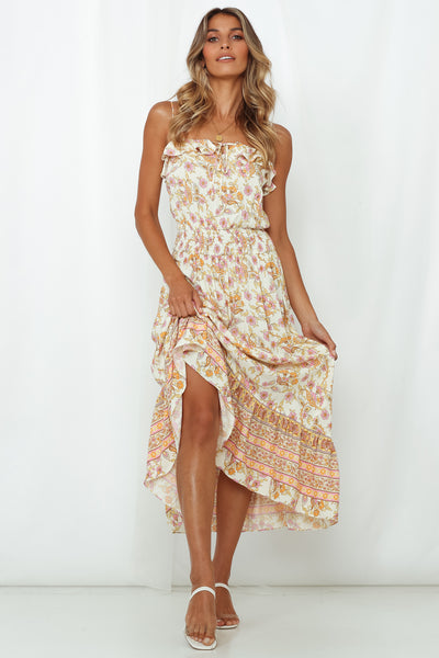 On Call For Summer Midi Dress Ivory
