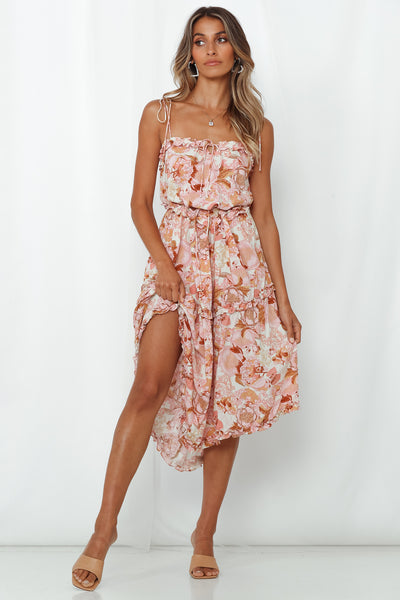 Over And Under Midi Dress Pink