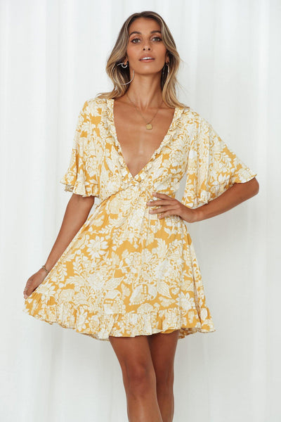 Blooming Till Spring Dress Yellow