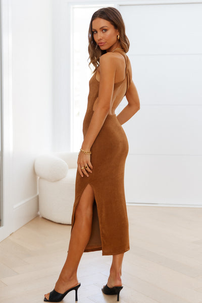 Question Time Maxi Dress Brown