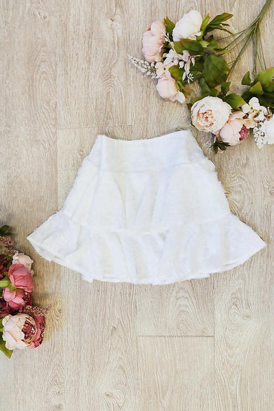 HAZEL Firenze Ruffle Skirt White