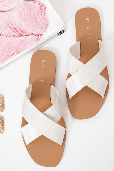BILLINI Hale Slides White Clay Croc
