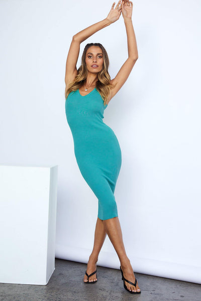 Varsity Chick Midi Dress Teal | Hello Molly USA