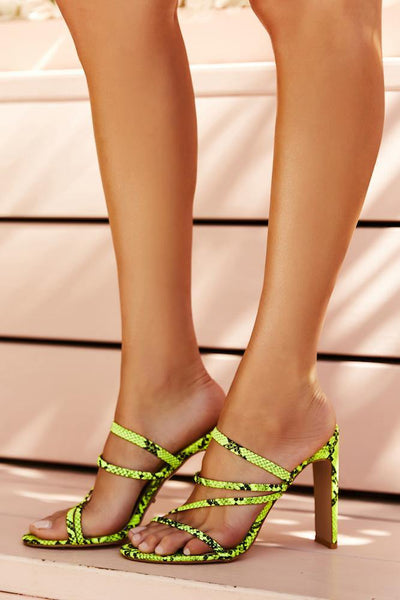 BILLINI Devana Heels Neon Yellow Snake | Hello Molly USA
