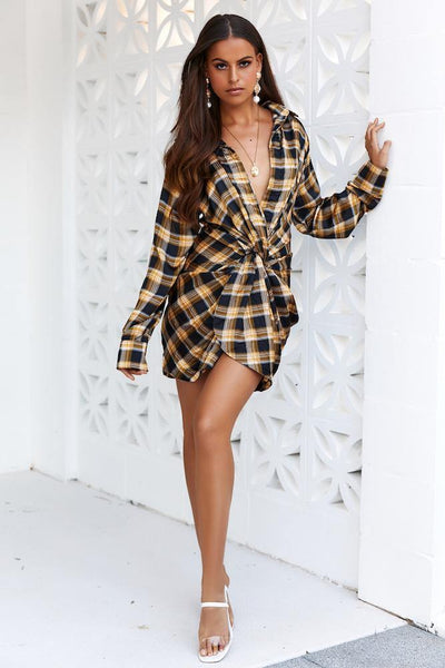 LIONESS Hey You Shirt Dress Yellow Check