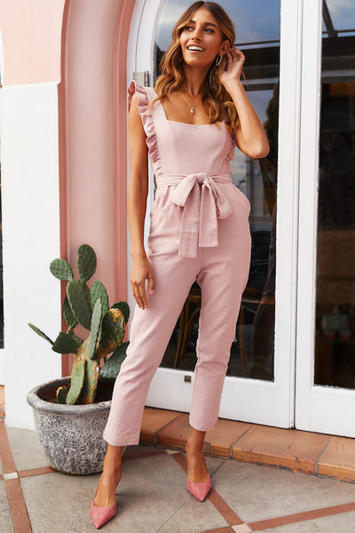 My Kind Of Night Jumpsuit Blush