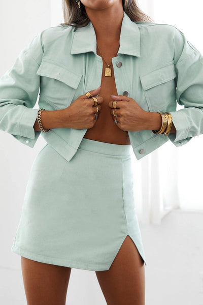 Classy Not Basic Crop Jacket Mint | Hello Molly USA