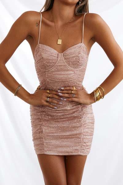 HELLO MOLLY Bottles Of Bubbles Dress Nude