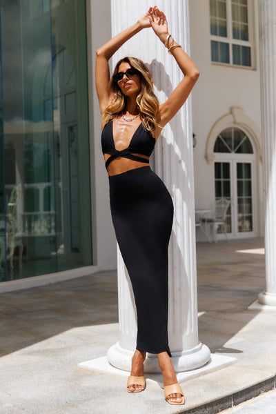 Fireworks Maxi Skirt Black