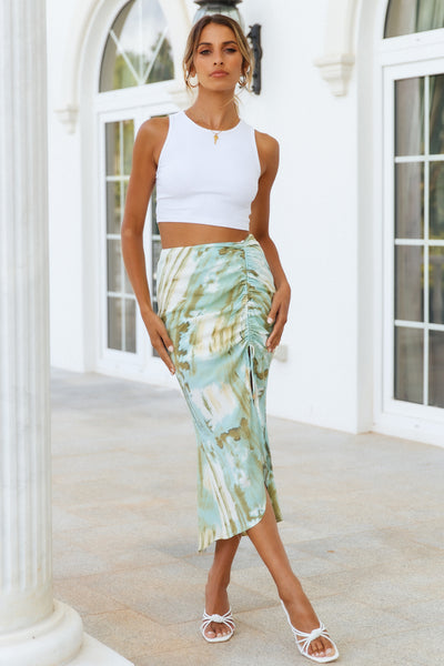 Drifting Waves Midi Skirt Green