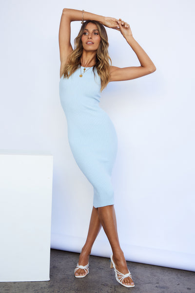 Wishes For You Knit Midi Dress Blue | Hello Molly USA
