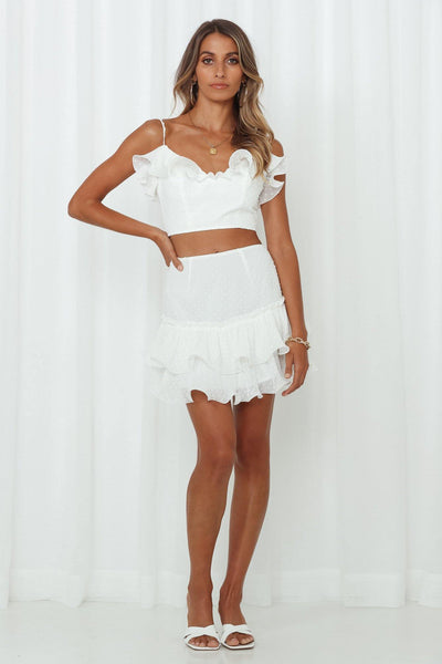 Adios Mini Skirt White