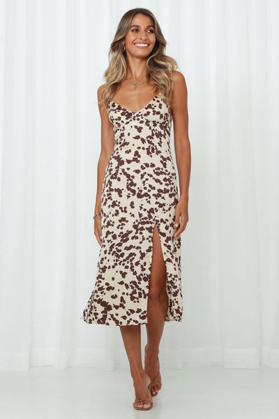 Cowgirl Midi Dress Brown