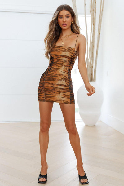 Tiger Style Dress Brown | Hello Molly USA