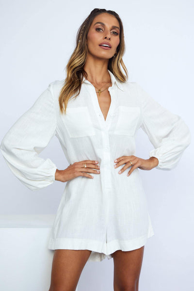 Destination Zero Playsuit White