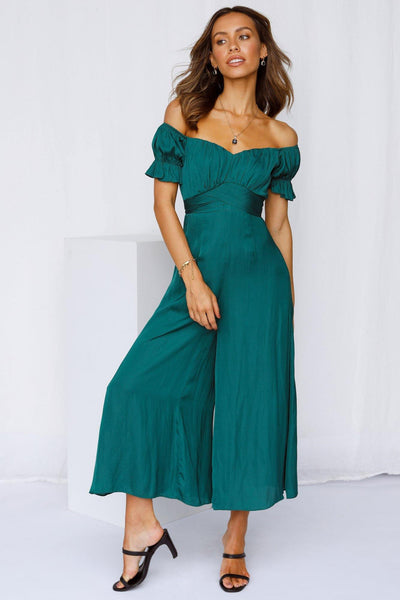Pour Another One Jumpsuit Forest Green