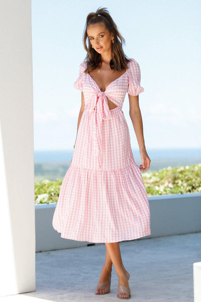 Cater To My Whims Midi Dress Pink