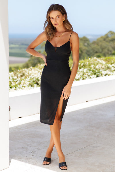 Pending Love Dress Midi Dress Black