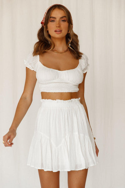 Summer Time Fine Crop Top White
