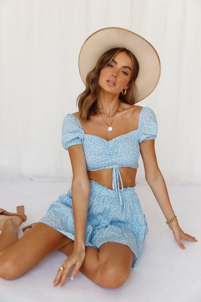 Spell It Out For Me Crop Top Blue | Hello Molly USA