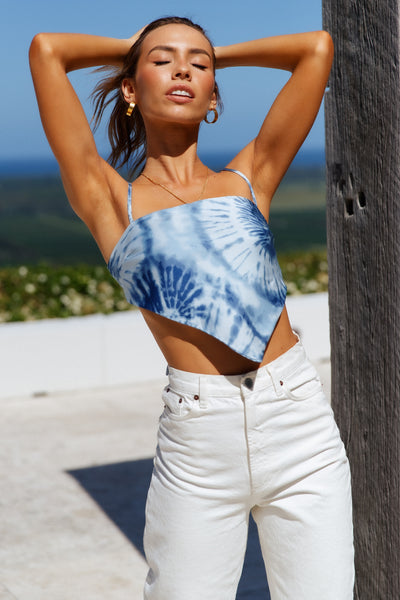 Fly And Free Spirited Bandana Top Blue