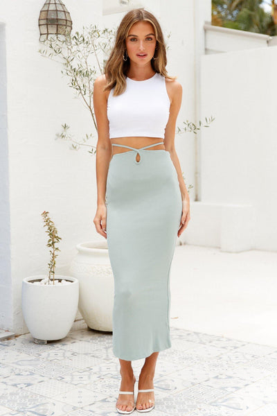 Neutral Territory Maxi Skirt Sage