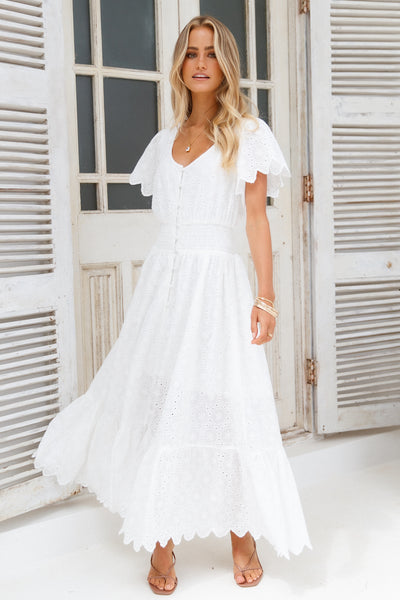 Peony Season Dress White
