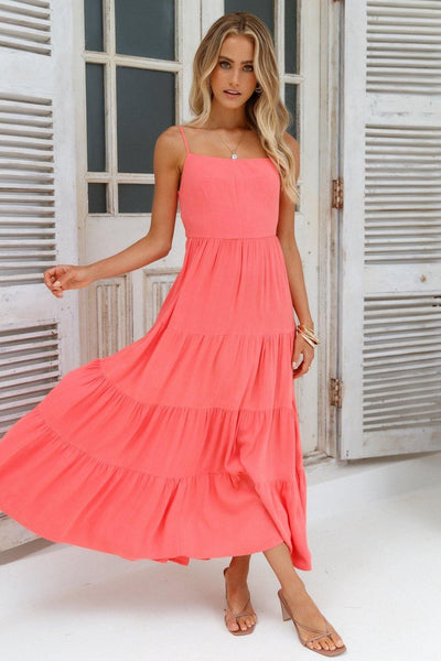 Train Into Town Midi Dress Coral