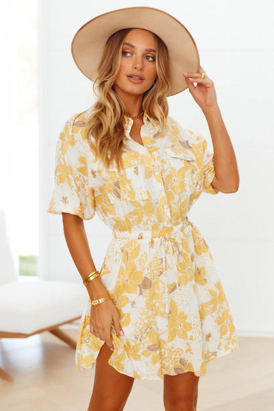 Cabernet Shirt Dress Yellow | Hello Molly USA