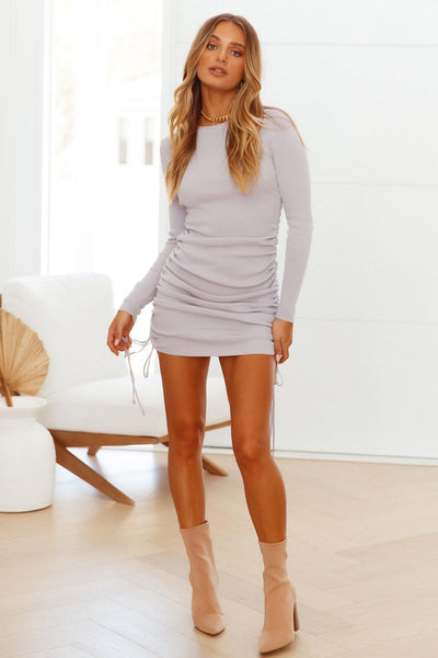 LIONESS Military Minds Long Sleeve Mini Dress Dusty Purple | Hello Molly USA