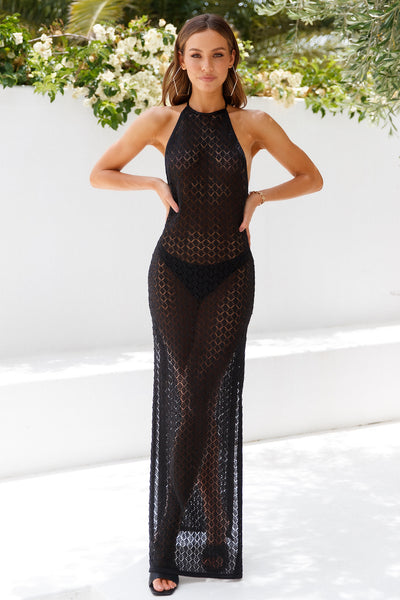 LIONESS St Tropez Maxi Dress Black