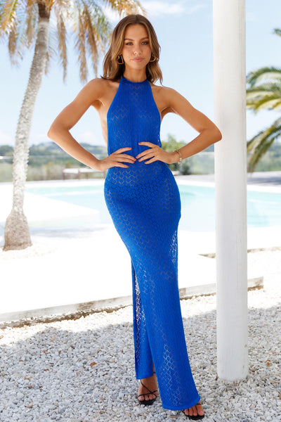 LIONESS St Tropez Maxi Dress Blue