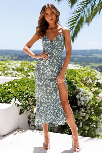 Palm Beach Holiday Midi Dress Sage