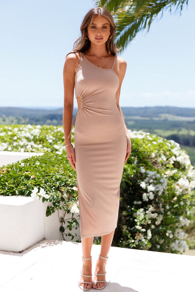 You Should See Me Slay Midi Dress Beige