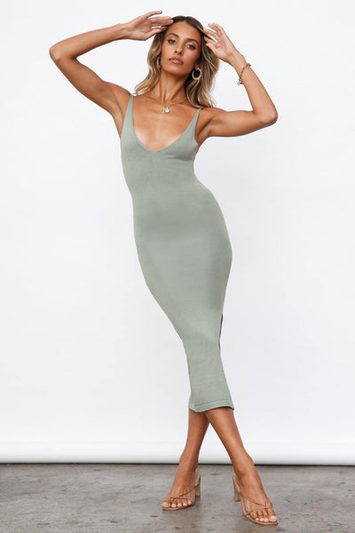 Following The Sun Midi Dress Sage