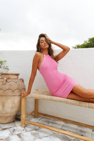 Halter Backgirl Dress Pink
