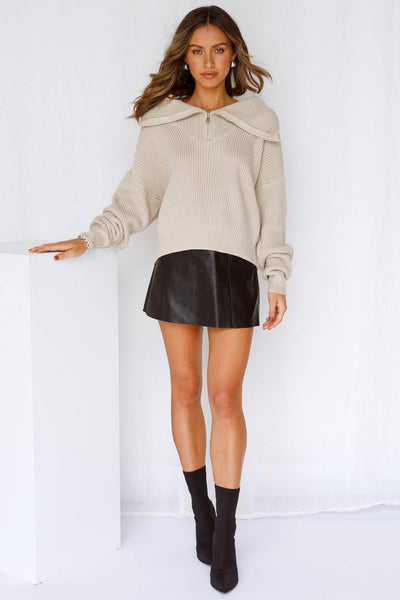 Hung Up Knit Beige | Hello Molly USA