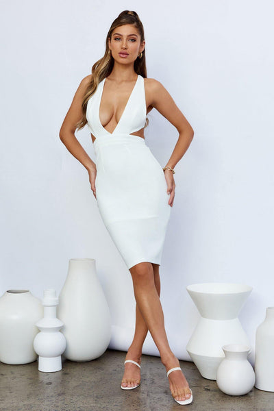 Little Secret Midi Dress White | Hello Molly USA