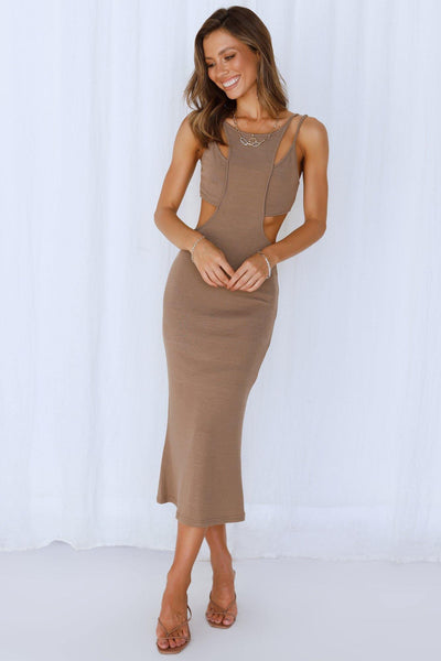 On The Verge Midi Dress Brown | Hello Molly USA
