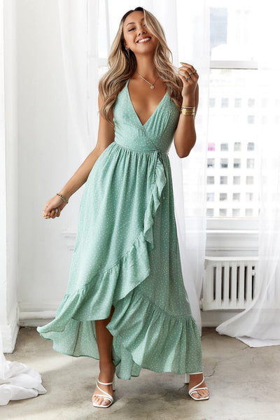 HELLO MOLLY Sunset Drive Maxi Dress Green