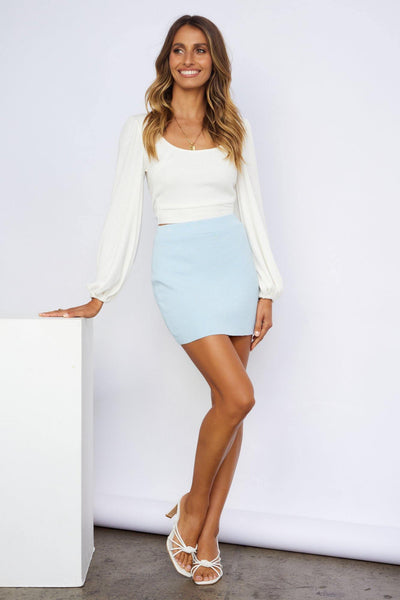 Shoulder Kisses Knit Skirt Blue