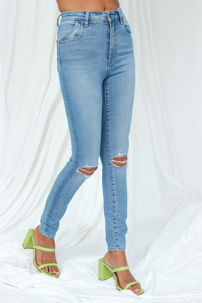 Rolla's Eastcoast Ankle High Rise Skinny Jeans Ocean Worn