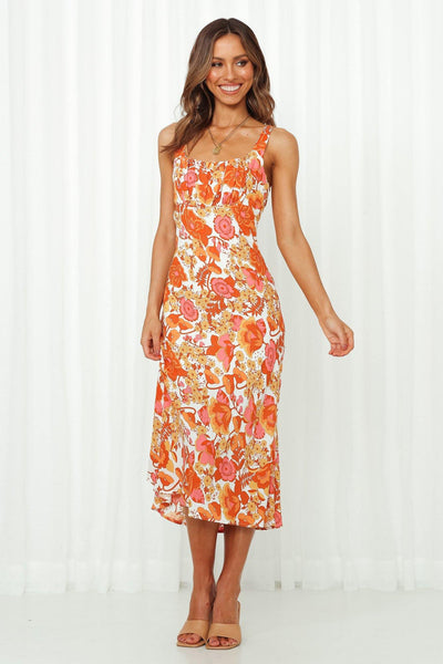 Stole My Heart Away Midi Dress Orange