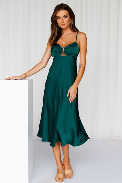 So Inlove Midi Dress Forest Green