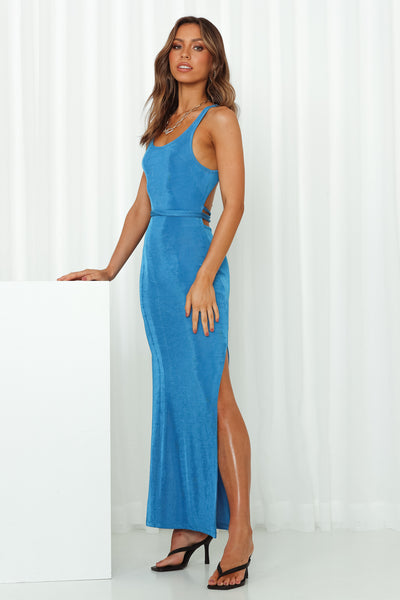 To Answer Your Questions Maxi Dress Blue