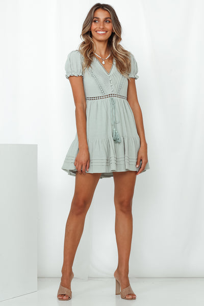 Found Love In Barcelona Dress Sage
